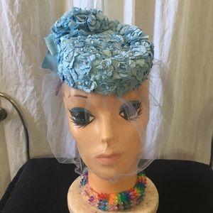 Vintage Ronnie 1950s blue floral Birdcage pillbox